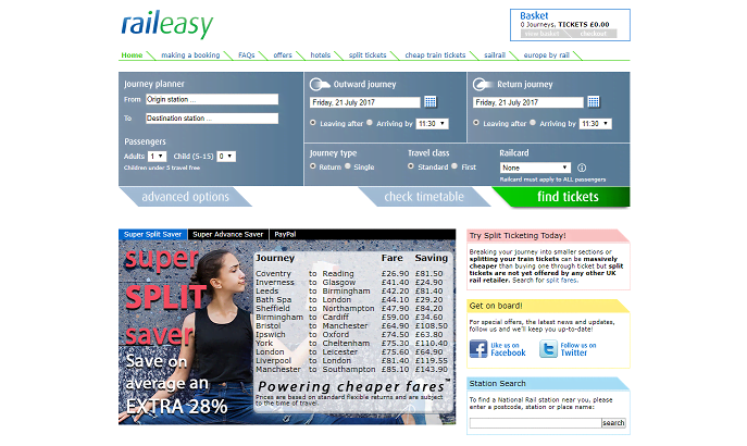 Raileasy Homepage Screenshot
