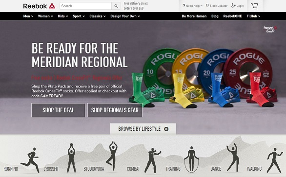 Reebok Homepage Screenshot