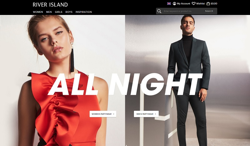 River Island Homepage Screenshot