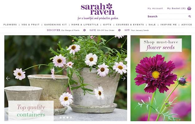 Sarah Raven Homepage Screenshot