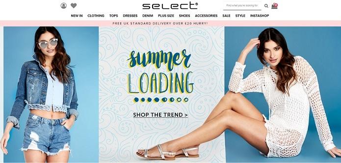 Select Fashion Homepage Screenshot