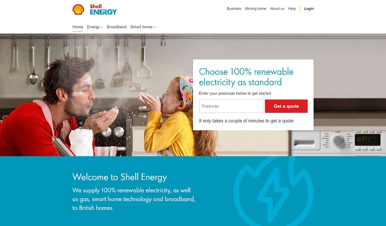 Shell Energy Homepage Screenshot
