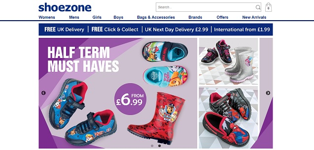 Shoezone Homepage Screenshot