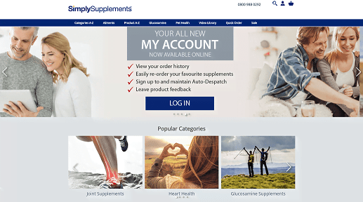 Simply Supplements Homepage Screenshot