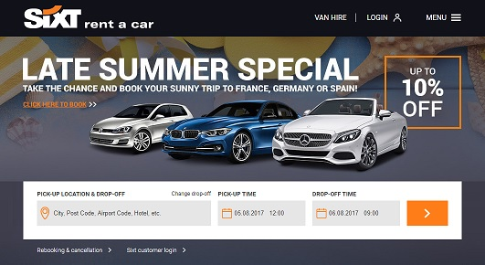 Sixt Car Rental Homepage Screenshot