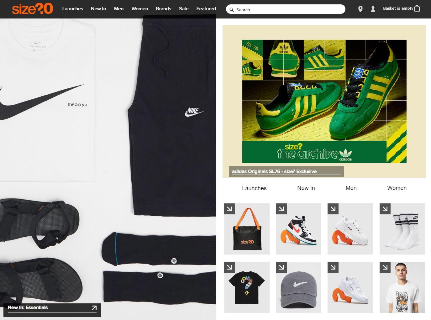 Size Homepage Screenshot
