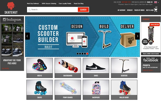 Skatehut Homepage Screenshot