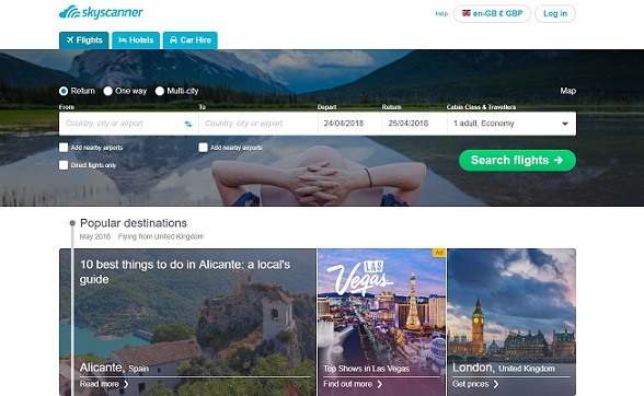 Skyscanner Homepage Screenshot