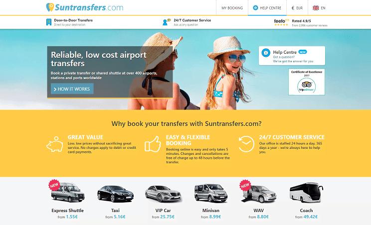 Suntransfers.com Homepage Screenshot