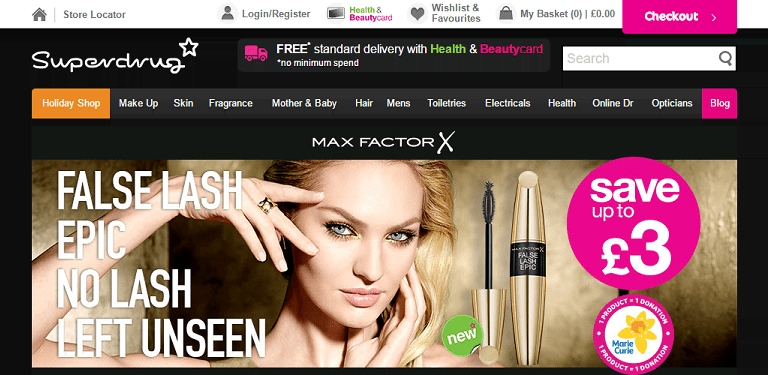 Superdrug Homepage Screenshot