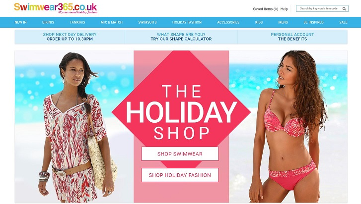 Swimwear365 Homepage Screenshot