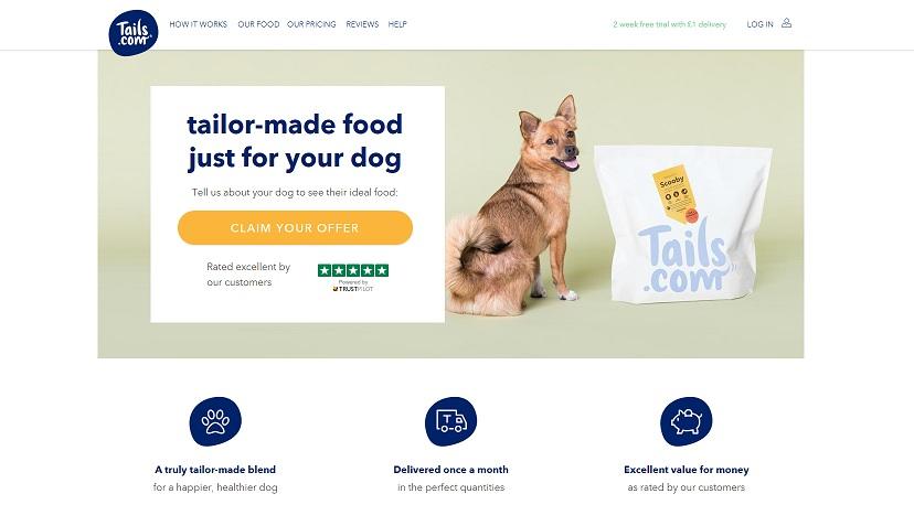 Tails.com Homepage Screenshot