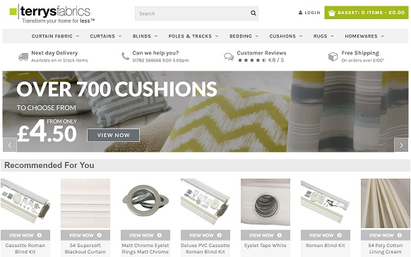 Terry's Fabrics Homepage Screenshot