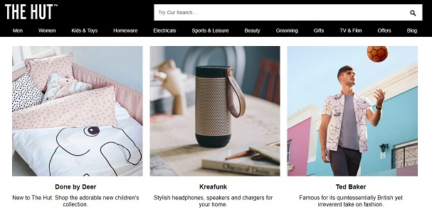 The Hut Homepage Screenshot