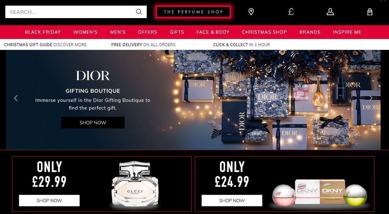 The Perfume Shop Homepage Screenshot