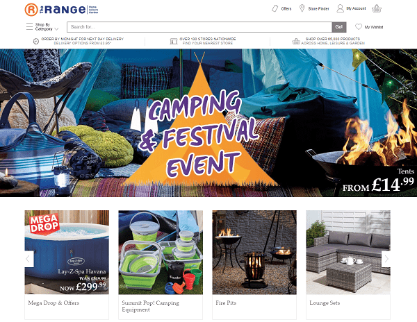 The Range Homepage Screenshot