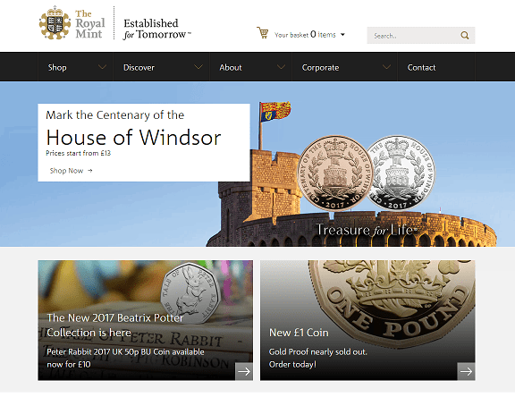 The Royal Mint Homepage Screenshot
