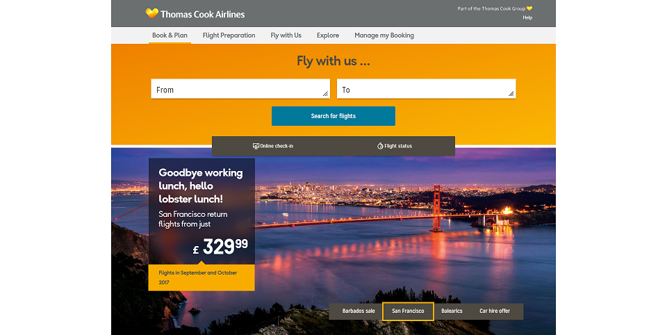 Thomas Cook Airlines Homepage Screenshot