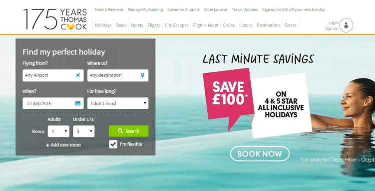 Thomas Cook Homepage Screenshot