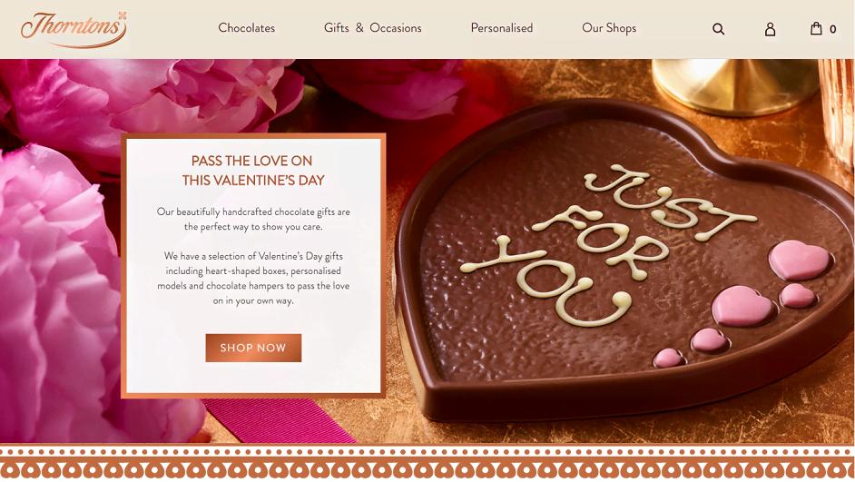 Thorntons Chocolate Homepage Screenshot