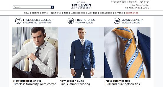 T.M.Lewin Homepage Screenshot