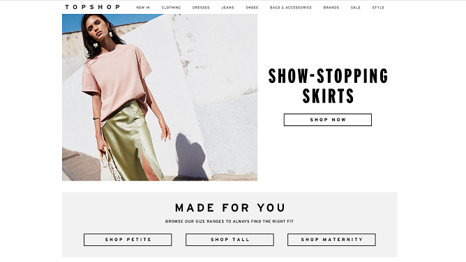 Topshop Homepage Screenshot