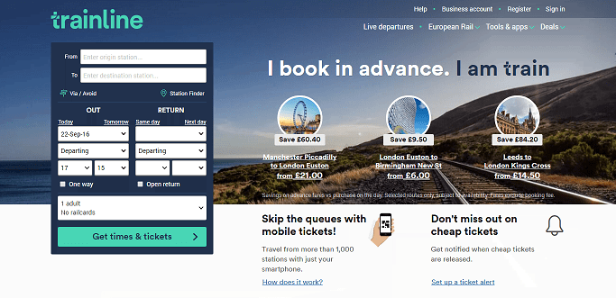 Trainline Homepage Screenshot