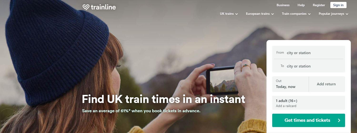 Trainline Homepage