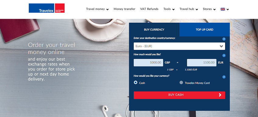 Travelex Homepage Screenshot
