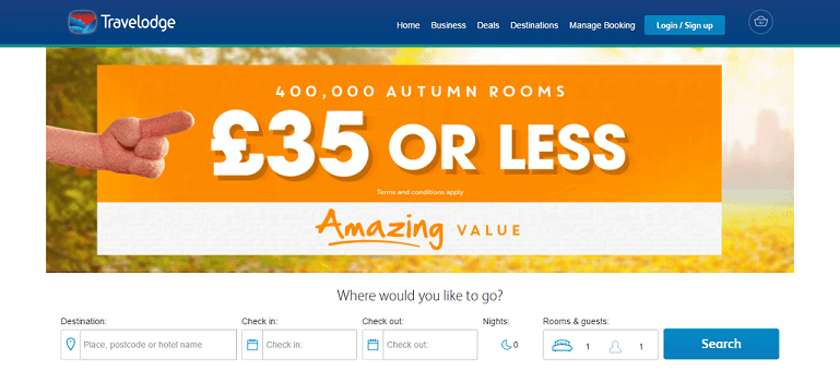 Travelodge Homepage Screenshot