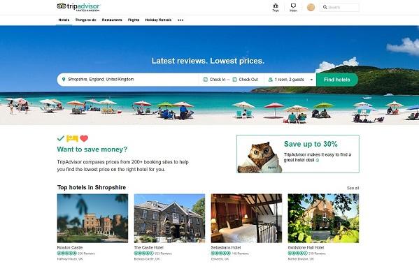Tripadvisor Homepage Screenshot