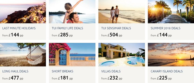 TUI Holiday Categories