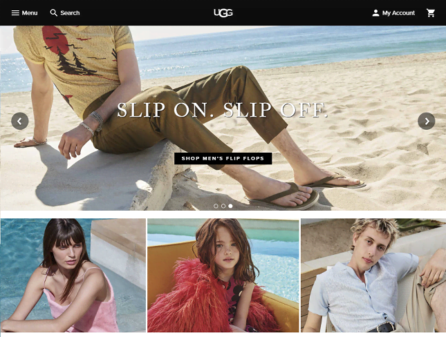 UGG Footwear Homepage Screenshot