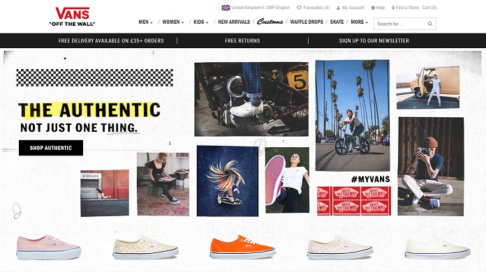 Vans Homepage Screenshot