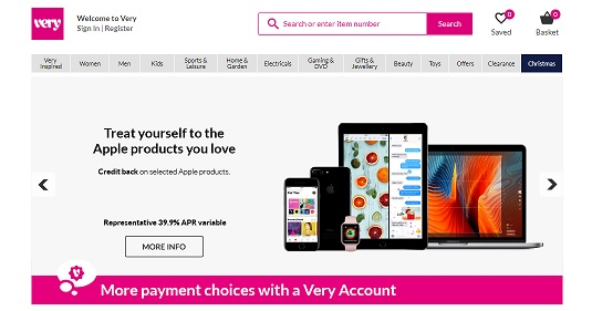 Very Homepage Screenshot