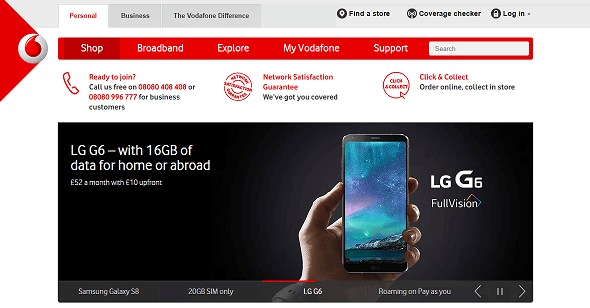 Vodafone Homepage Screenshot