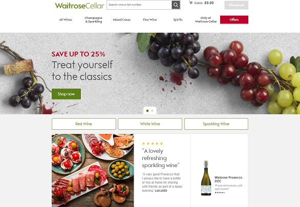 Waitrose & Partners Wine Cellar Homepage Screenshot