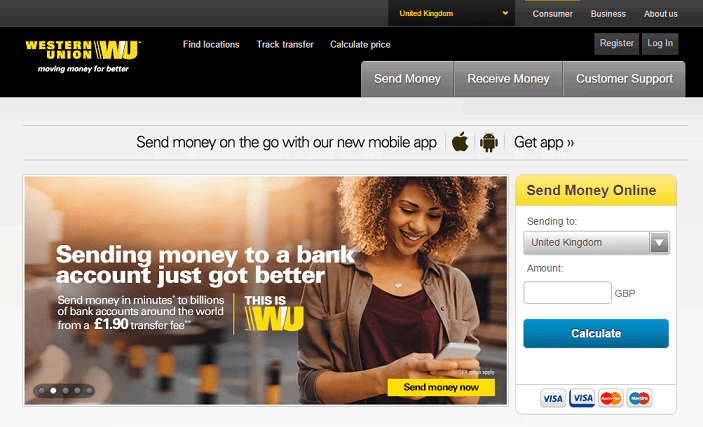 Western Union Homepage Screenshot