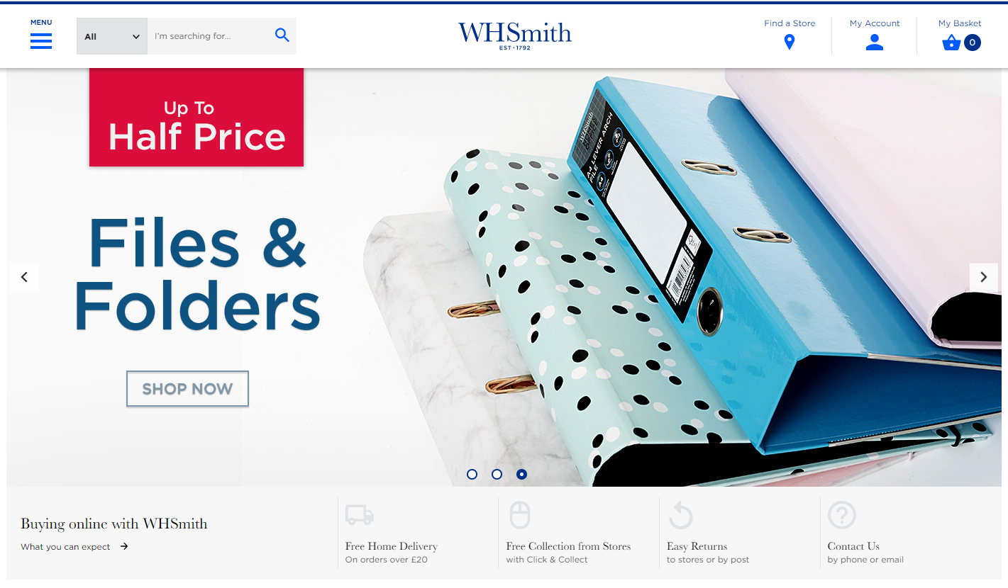WHSmith Homepage Screenshot