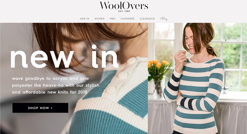 Woolovers Homepage Screenshot