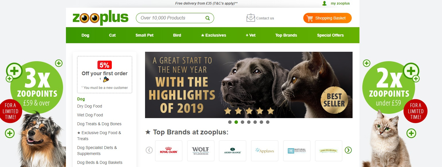 Zooplus Petshop Homepage Screenshot